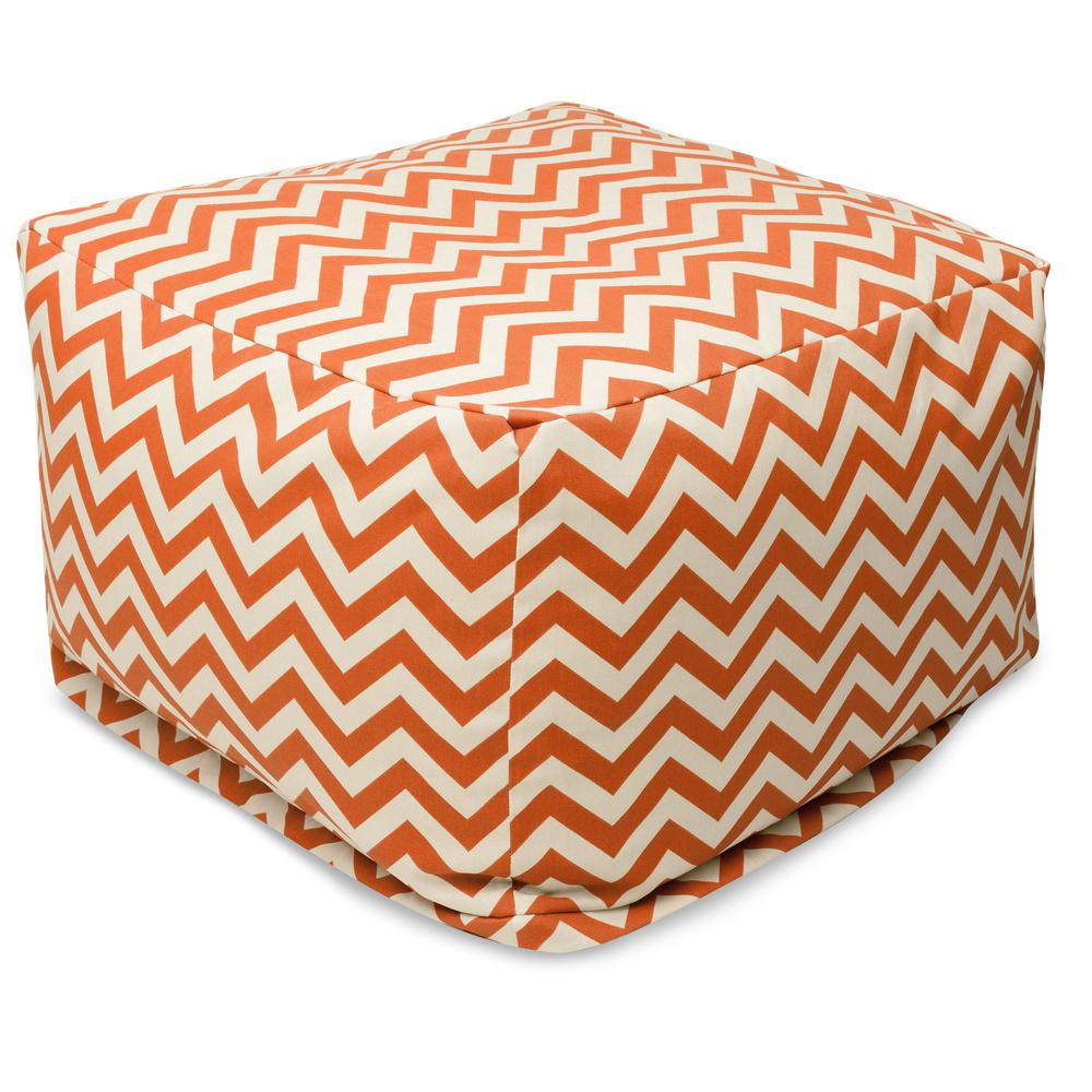 Burnt Orange Chevron Indoor/Outdoor Ottoman Cushion