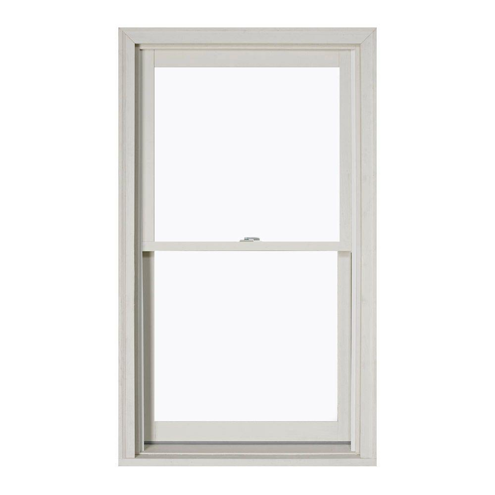 JELD-WEN 37 375 in  x 64 5 in  W-2500 Series White Painted Clad Wood Double  Hung Window w/ Natural Interior and Low-E Glass