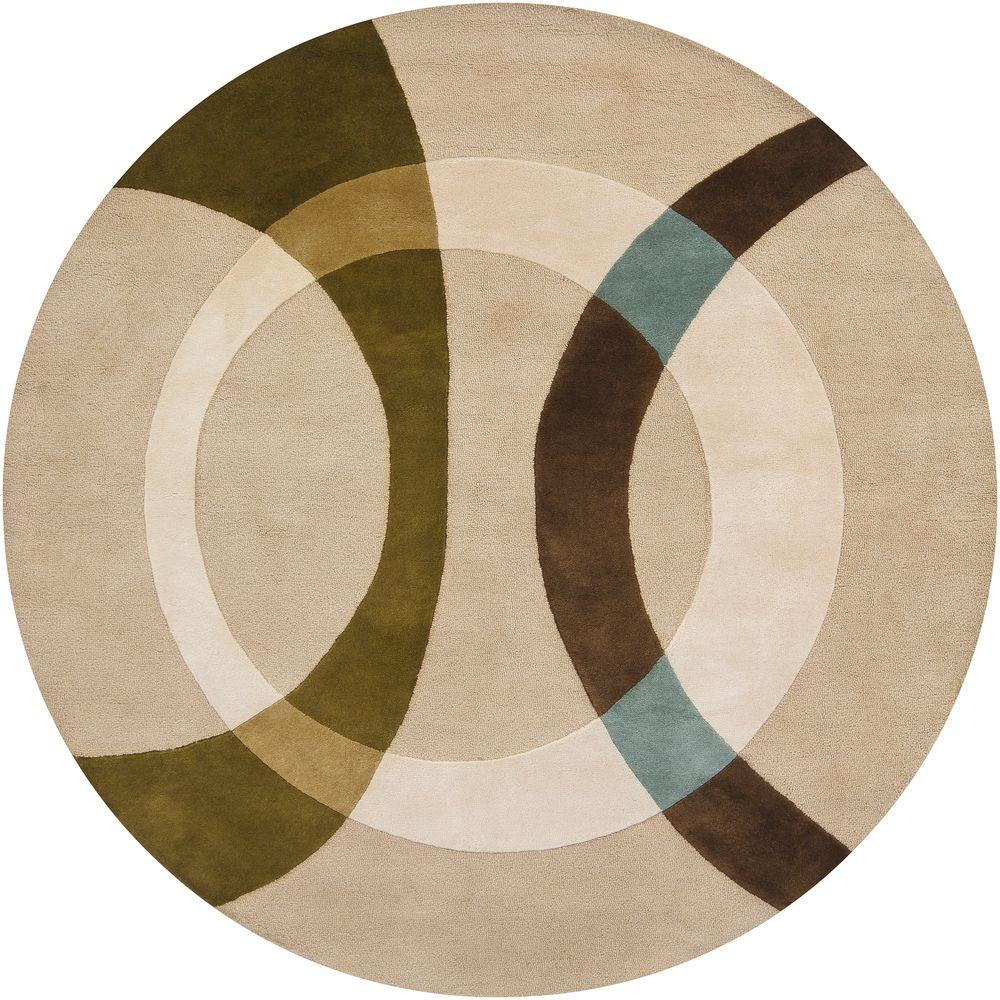 Bense Cream/Beige/Green/Brown/Blue 8 ft. x 8 ft. Indoor Round Area Rug