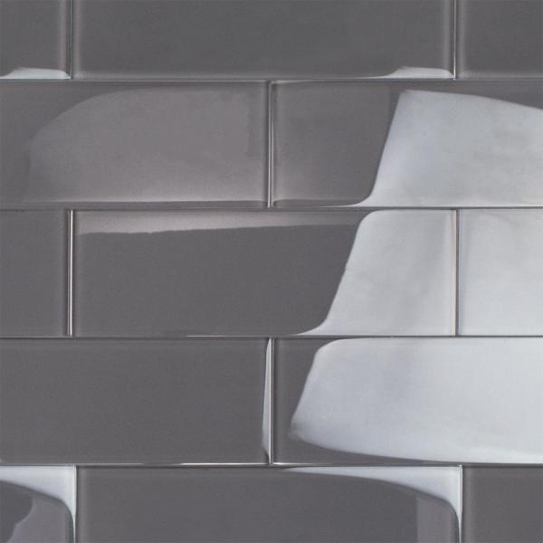 Contempo Smoke Gray Polished 4 in. x 12 in. x 8 mm Glass Subway Tile (15 pieces 5 sq.ft/Box)