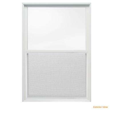 33.375 in. x 48 in. W-2500 Series White Painted Clad Wood Double Hung Window w/ Natural Interior and Screen