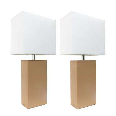 21 in. Modern Beige Leather Table Lamps with White Fabric Shades (2-Pack)