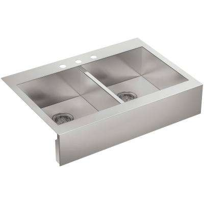 Vault Drop-in Stainless Steel 36 in. 3-Hole Double Bowl Kitchen Sink