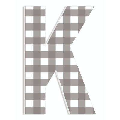 """12 in. x 18 in. """"Farmhouse Gingham Patterned Initial K"""" by Artist Daphne Polselli Wood Wall Art"""