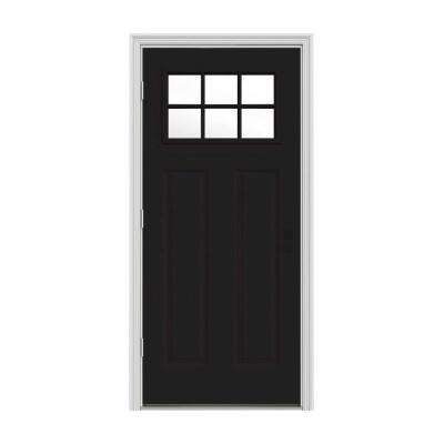 30 in. x 80 in. 6 Lite Craftsman Black w/ White Interior Steel Prehung Right-Hand Outswing Front Door w/Brickmould