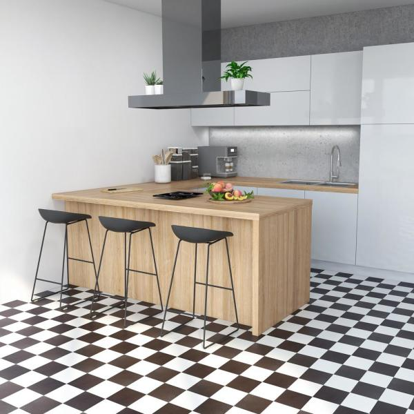 Achim Sterling Black And White Checkered 12 In X 12 In Peel And Stick Vinyl Tile 20 Sq Ft Case Stt1m10320 The Home Depot