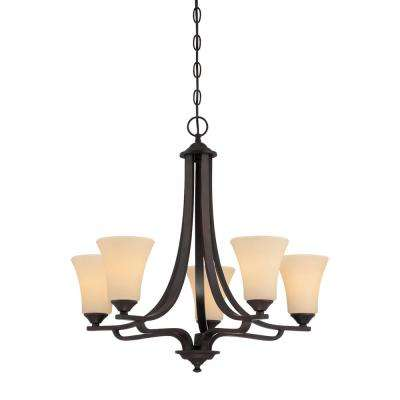 Treme 5-Light Espresso Chandelier With Champagne Glass Shades