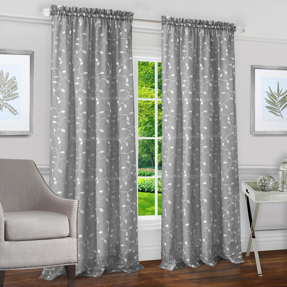 Chloe Silver Polyester Rod Pocket Curtain 50 in. W x 84
