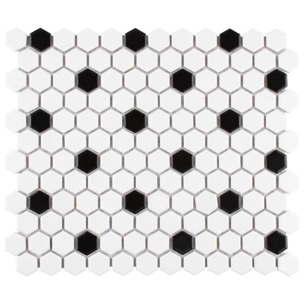 Madison Hex Matte 11-7/8 in. x 10-1/4 in. x 6mm Cool White with Black Dot Porcelain Mosaic Tile