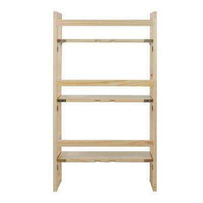 Natural 3-Shelf Folding Student Bookcase