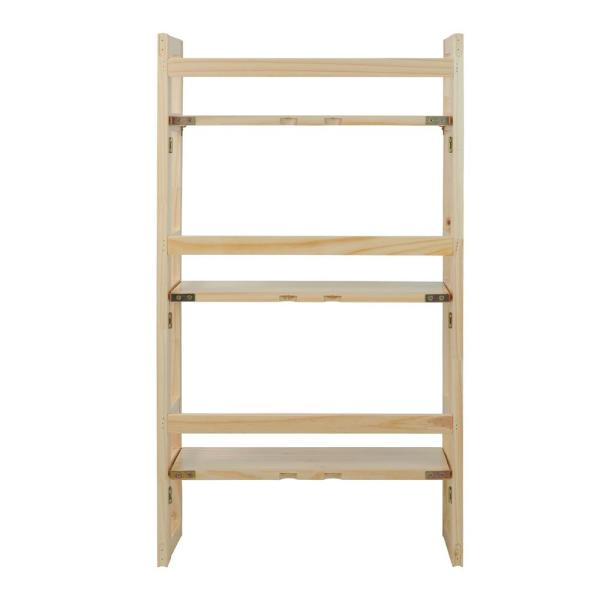 Casual Home Natural 3-Shelf Folding Student Bookcase 331-80