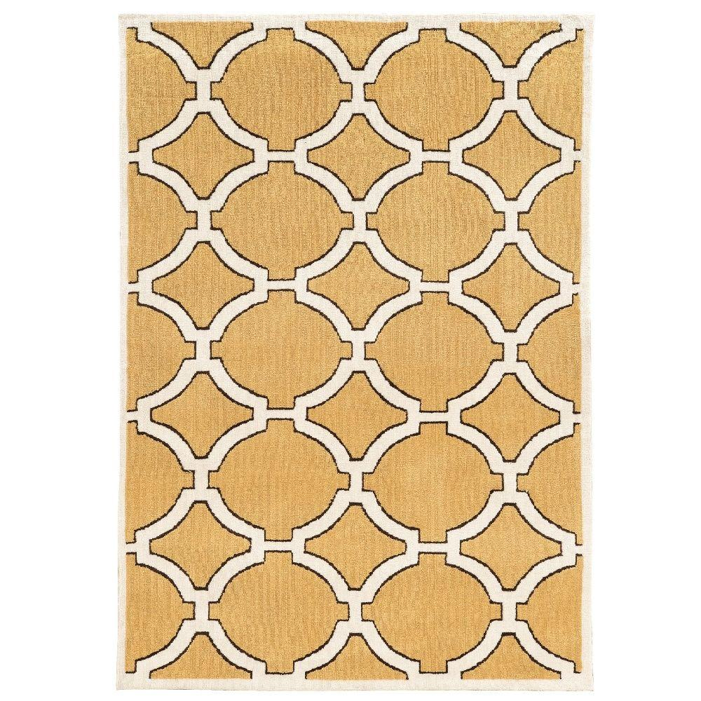 Linon Home Decor Geo Collection Goldenrod Ivory 8 Ft X 10 Ft Indoor Area Rug Rugge1381 The