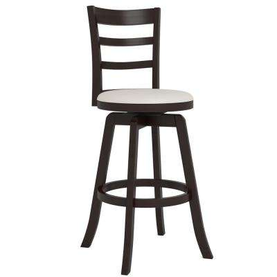 Woodgrove 29 in. Espresso Swivel Bar Stool with White Leatherette Seat