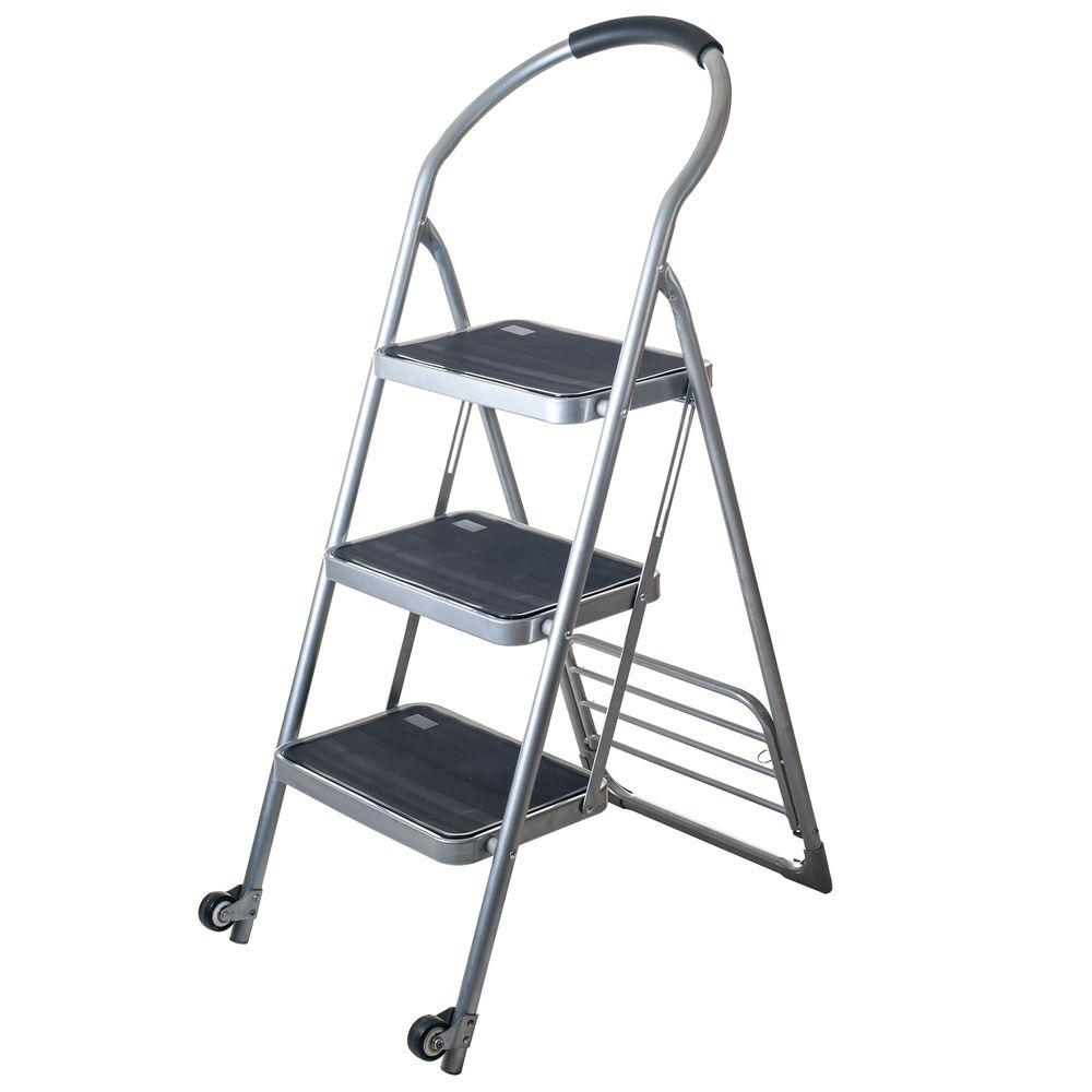 Step Ladder Dolly Folding Cart in Silver  sc 1 st  The Home Depot & Stalwart 175 lbs. Step Ladder Dolly Folding Cart in Silver-75-0001 ... islam-shia.org