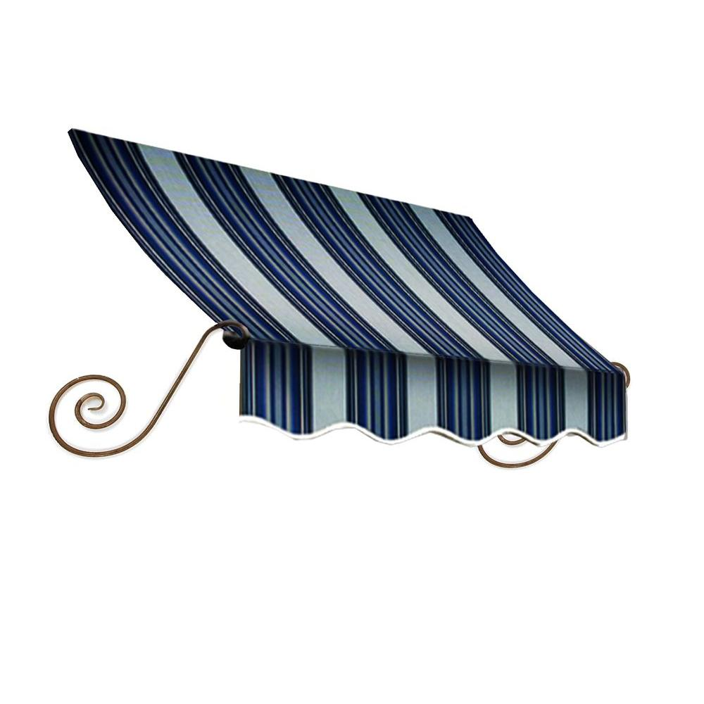 AWNTECH 7 ft. Charleston Window Awning (24 in. H x 12 in. D) in Navy/Gray/White Stripe