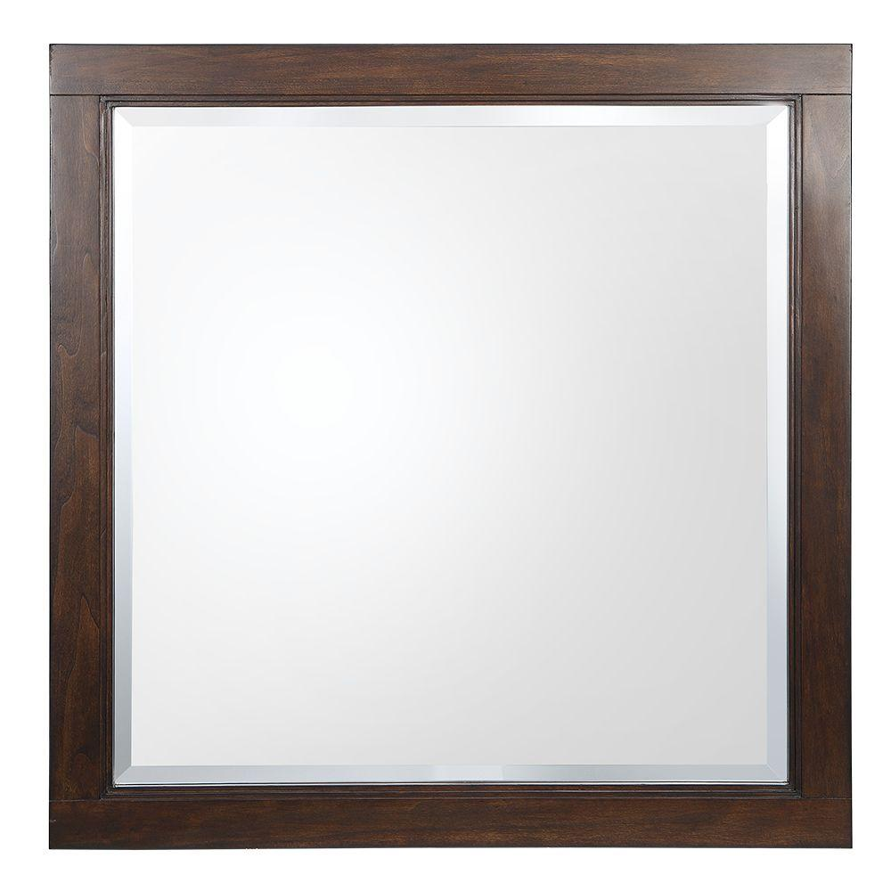 Home decorators collection castlethorpe 30 in w x 30 in h wall hung mirror in dark walnut - Home decor wall mirrors collection ...