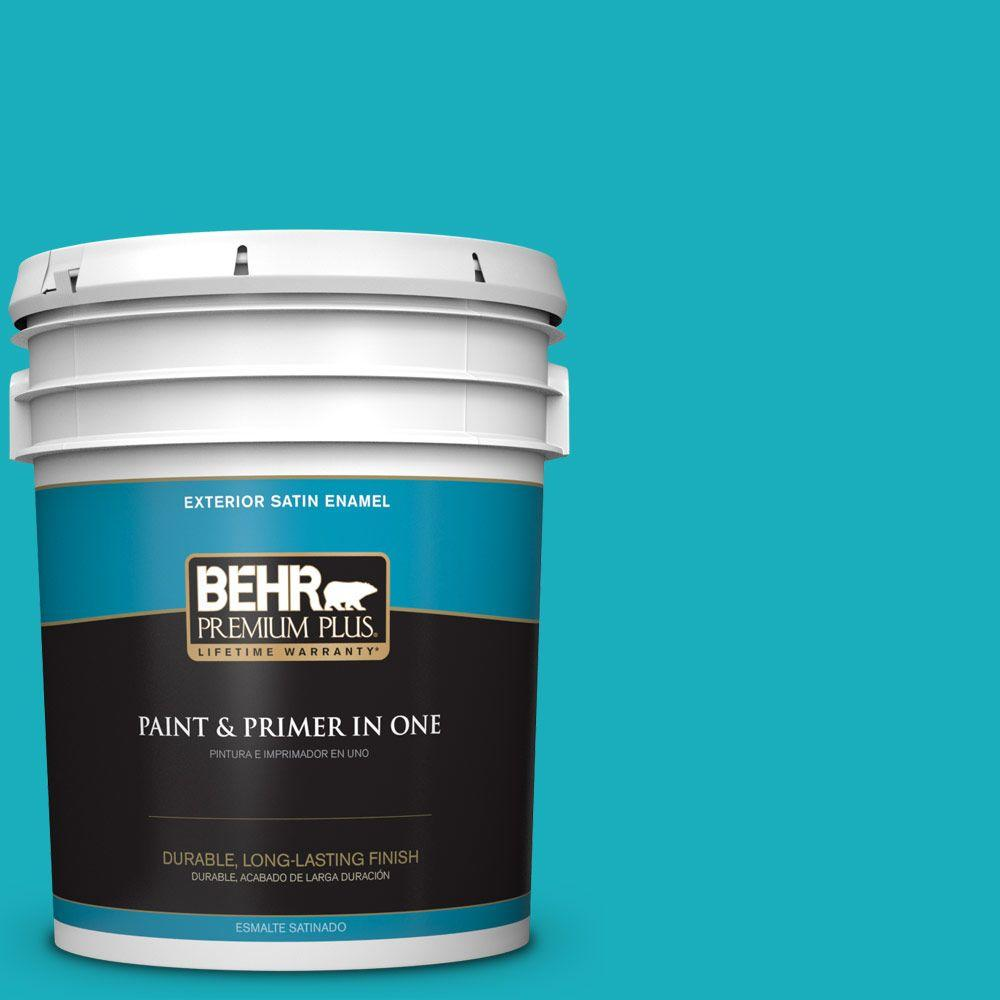5-gal. #P470-5 Placid Sea Satin Enamel Exterior Paint