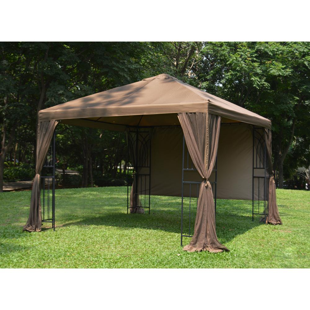 Symphony Gazebo With Mosquito Net Privacy Screen And Planter Holders
