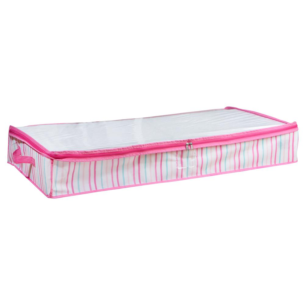 Under the Bed Storage Bag in Painterly Pink Stripe