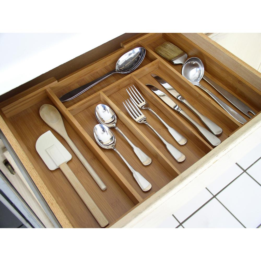 Bamboo 12. in. to 20 in. Expandable Cutlery Organizer