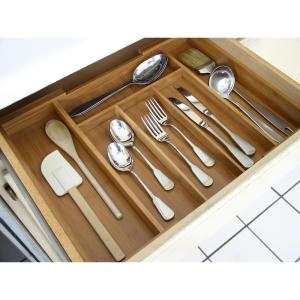 Axis International Bamboo 12. inch to 20 inch Expandable Cutlery Organizer by