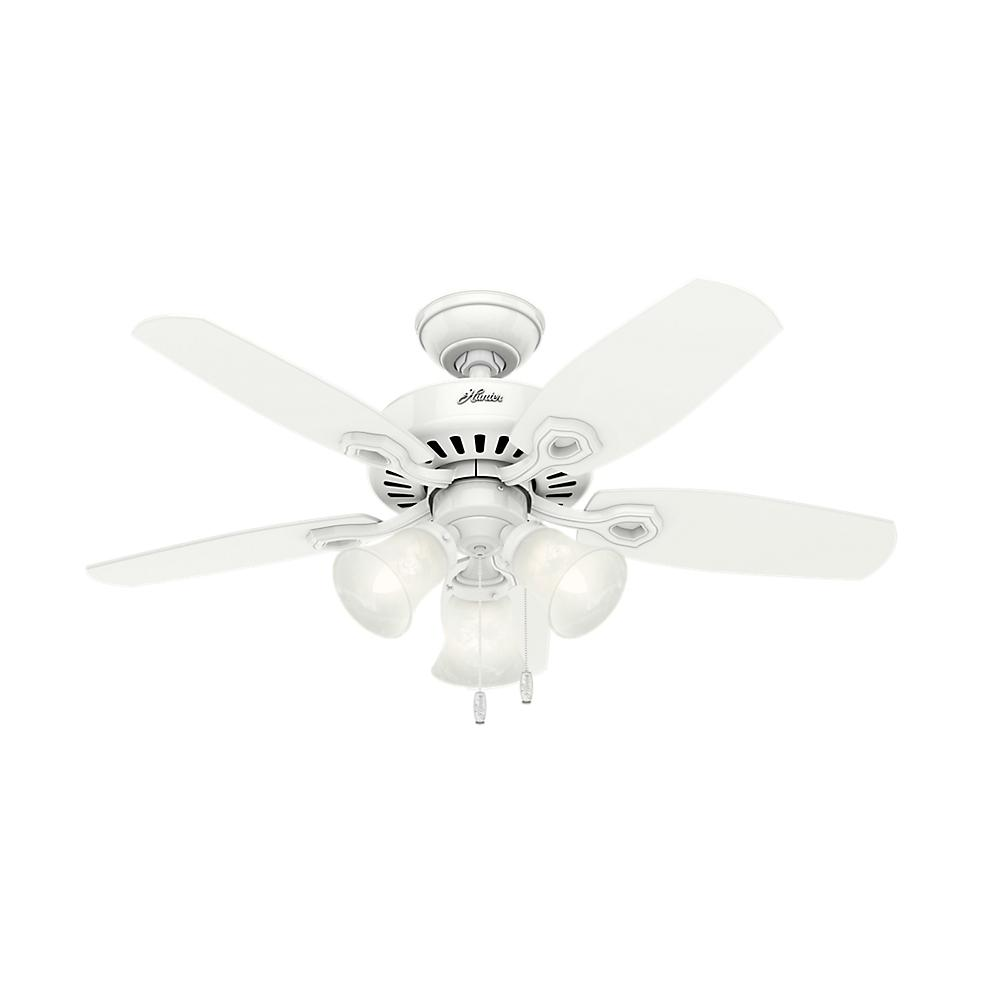 Hunter 42 In Indoor Snow White Builder Small Room Ceiling Fan With Light Kit