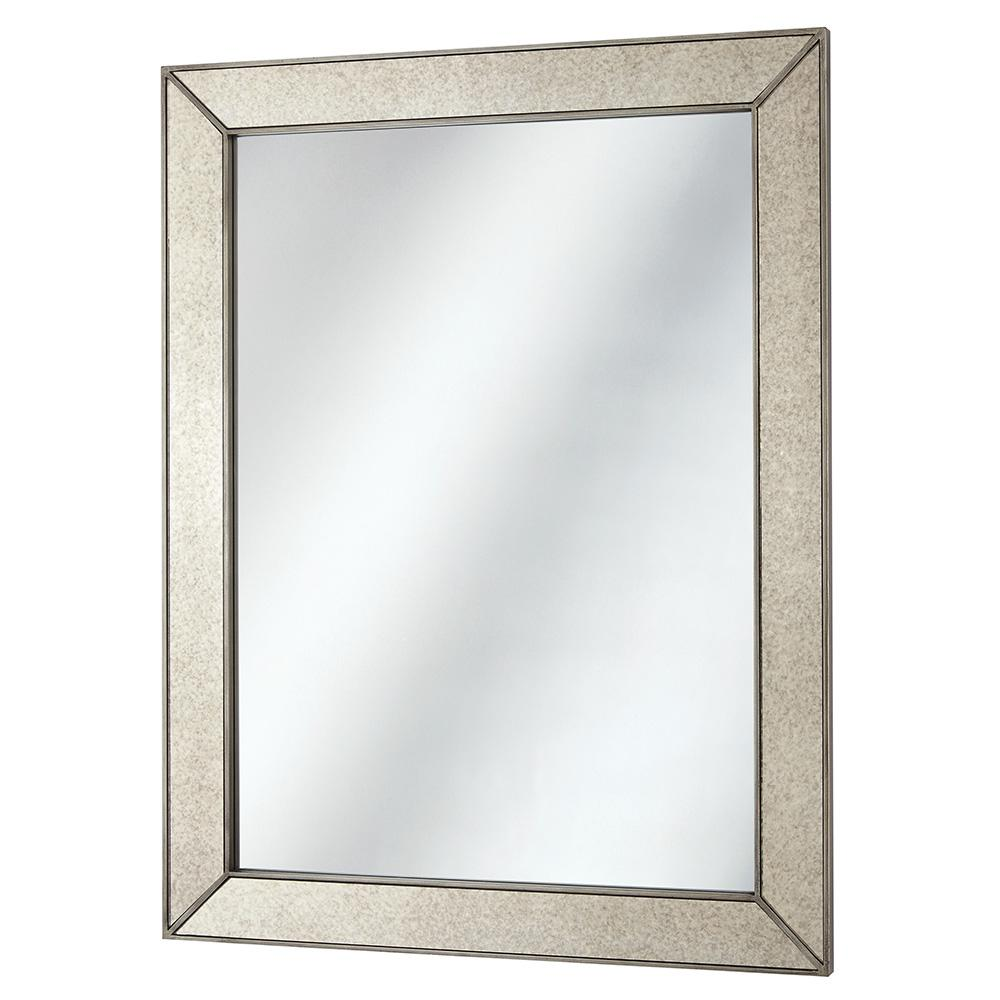 Home Decorators Collection 23 in. x 30 in. Framed Fog Free Wall Mirror in Silver