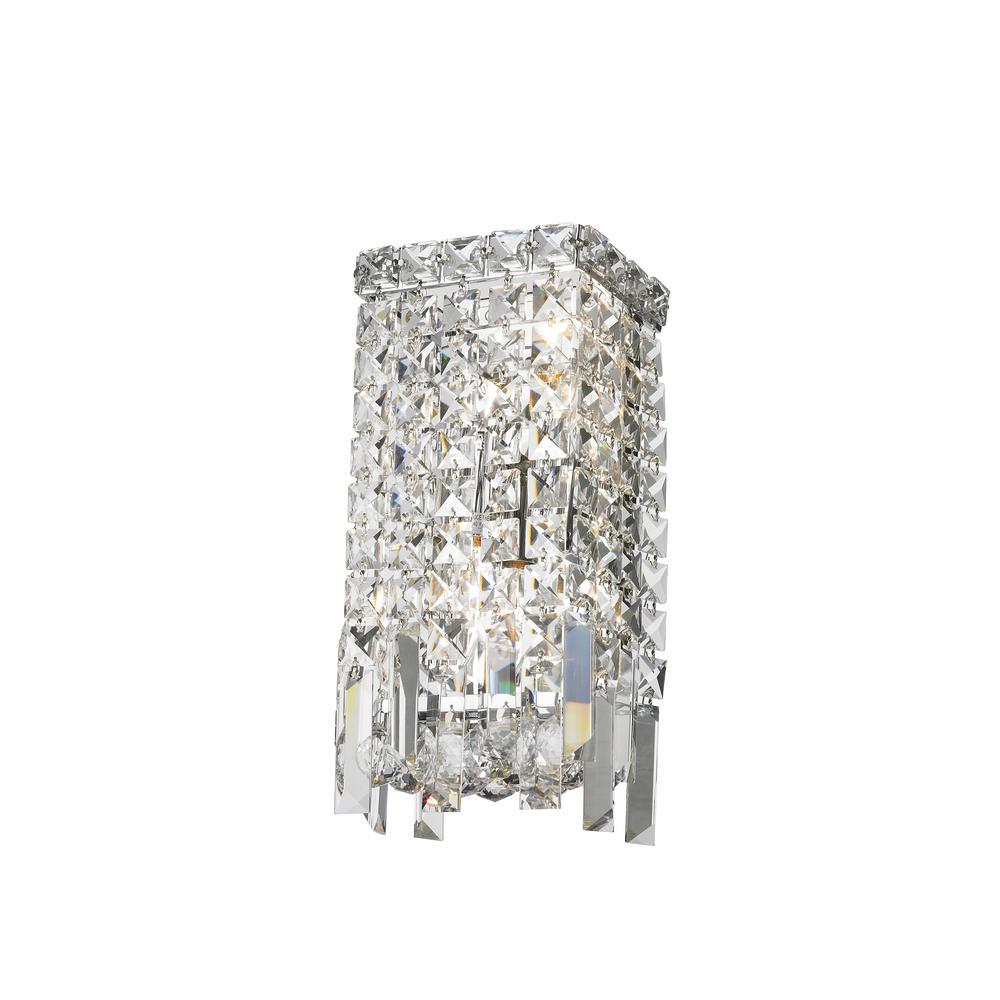 Cascade 2-Light Chrome Sconce with Clear Crystal