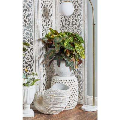 White Fiber Clay Tapered Round Planters (Set of 3)