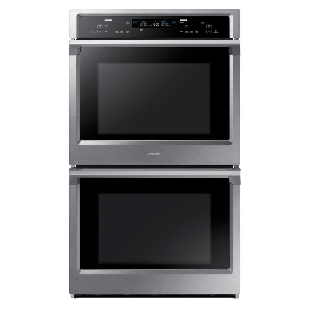 Samsung 30 in. Double Electric Wall Oven with Steam Cook and Dual Convection in Stainless Steel