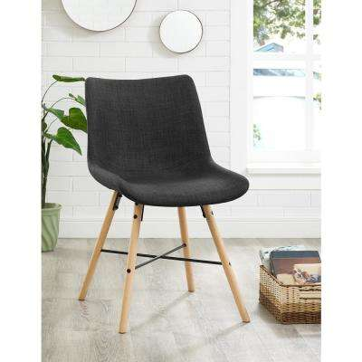 Charcoal Upholstered Linen Side Chair