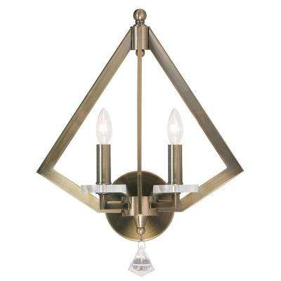 Diamond 2-Light Antique Brass Wall Sconce