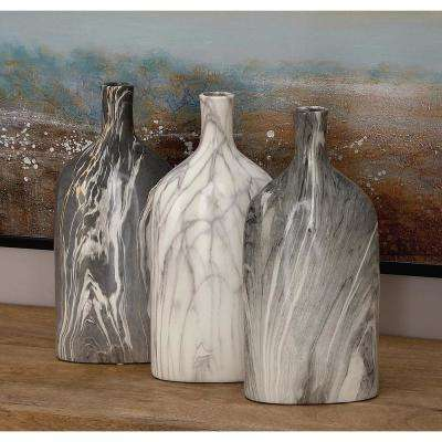 13 in. Gray Ceramic Bottle Decorative Vase (Set of 3)