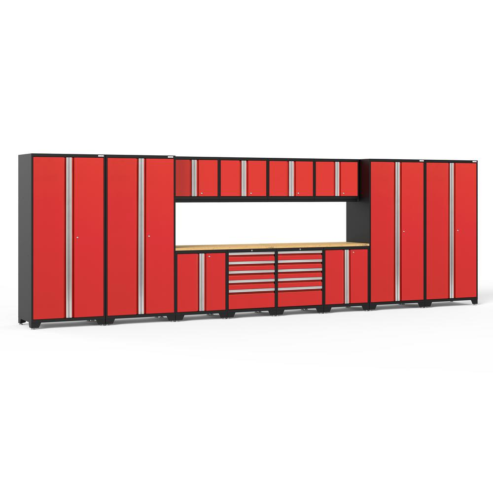 NewAge Products Pro Series 256 in. W x 85.25 in. H x  24 in. D 18-Gauge Steel Garage Cabinet Set in Red (14-Piece)