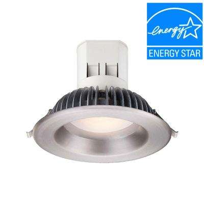 Easy Up 6 in. Soft White LED Recessed Light with 93 CRI, 3000K J-Box with Brushed Nickel Trim (No Can Needed)