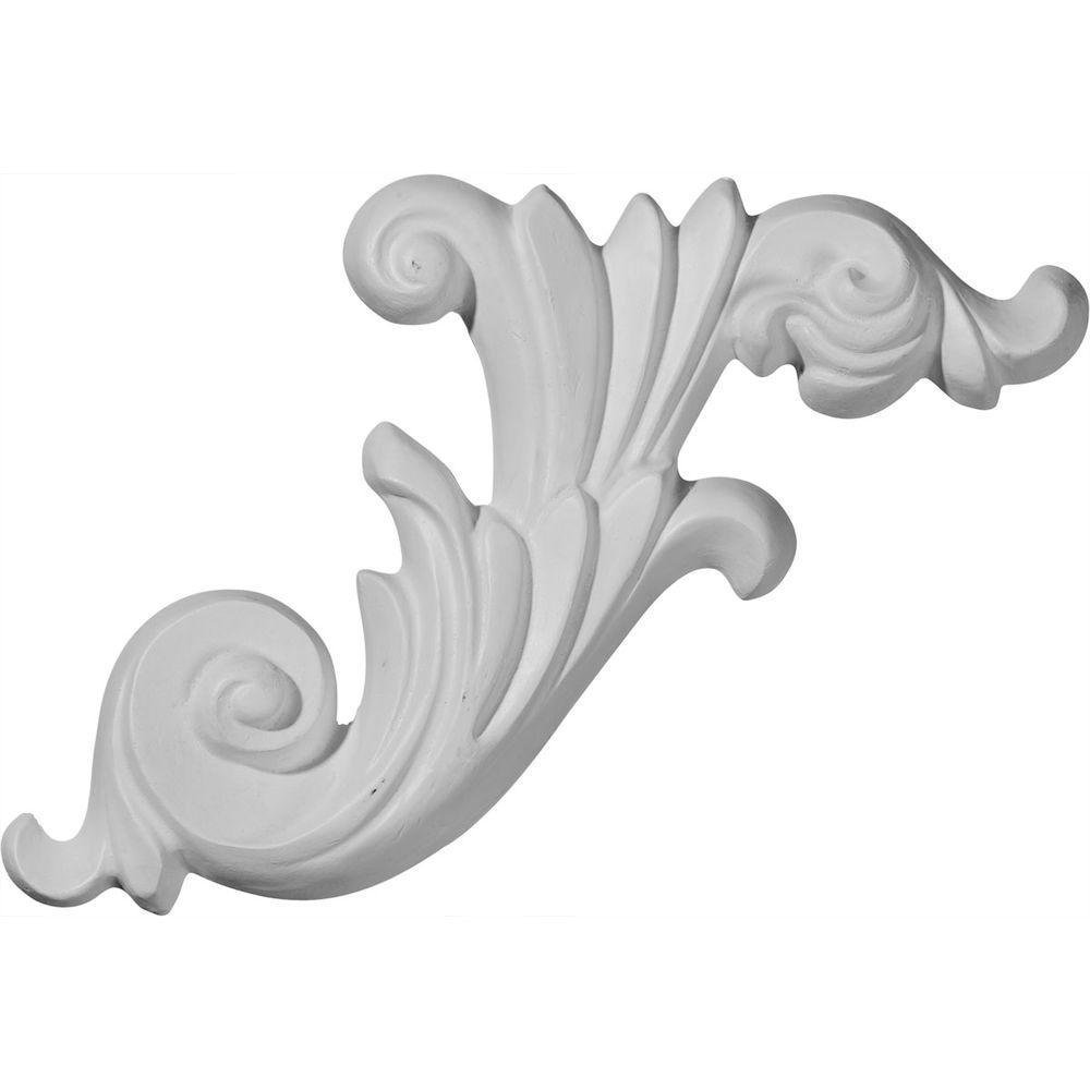 Ekena Millwork 1 in. x 15-3/4 in. x 7-1/8 in. Polyurethane Loera Scroll Right Onlay