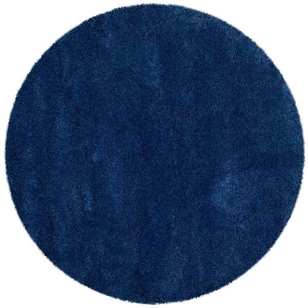 Milan Shag Navy 5 ft. x 5 ft. Round Area Rug