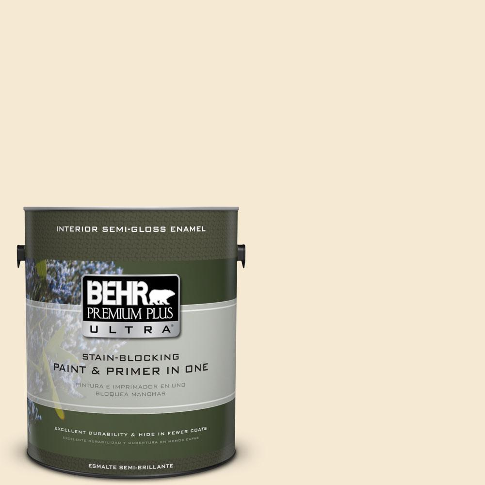 BEHR Premium Plus Ultra 1-gal. #YL-W7 Smooth Silk Semi-Gloss Enamel Interior Paint