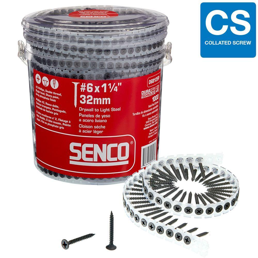 Senco #6 1-1/4 in. Phillips Bugle-Head Drywall Screws (1000 per Pack)