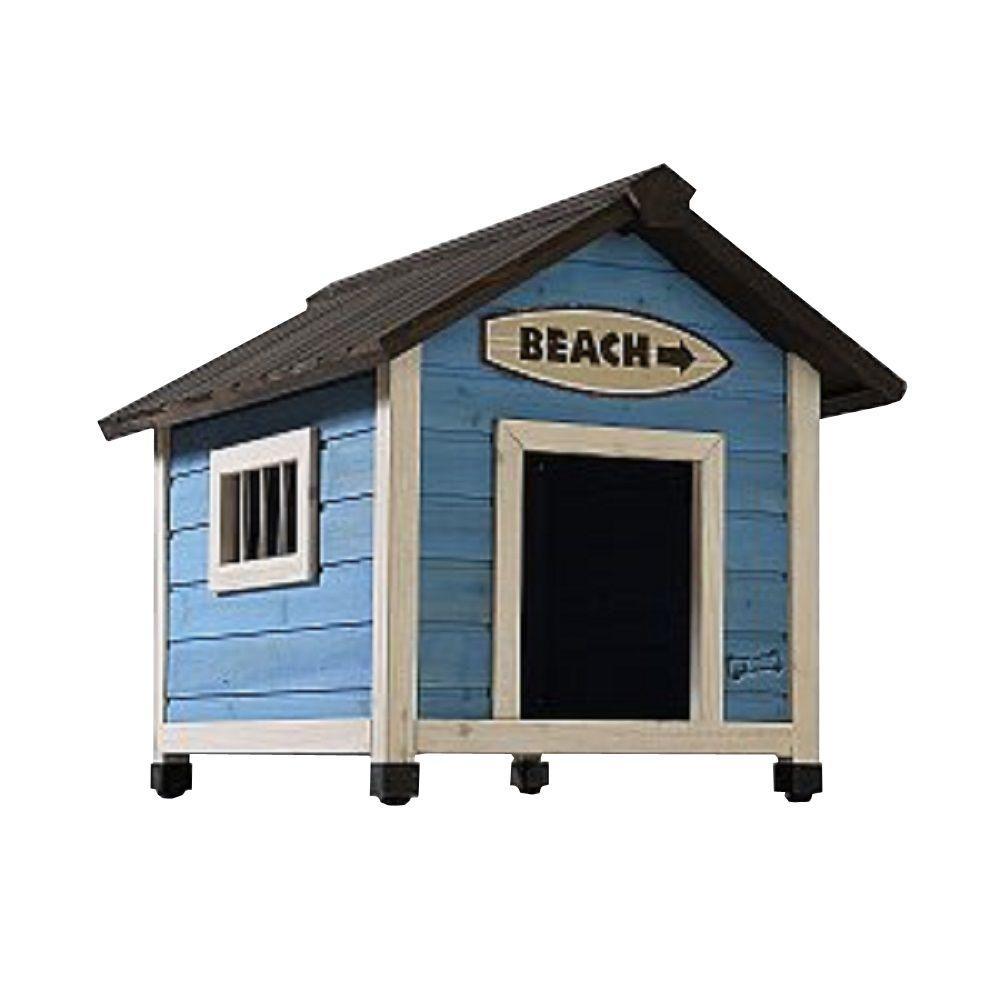 2.4 ft. L x 2 ft. W x 2.1 ft. H Small Beach House Dog House