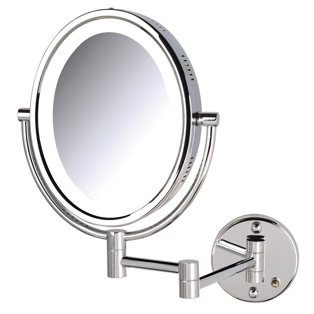 Jerdon 11 in. x 16 in. Bi-View Lighted Wall Makeup Mirror