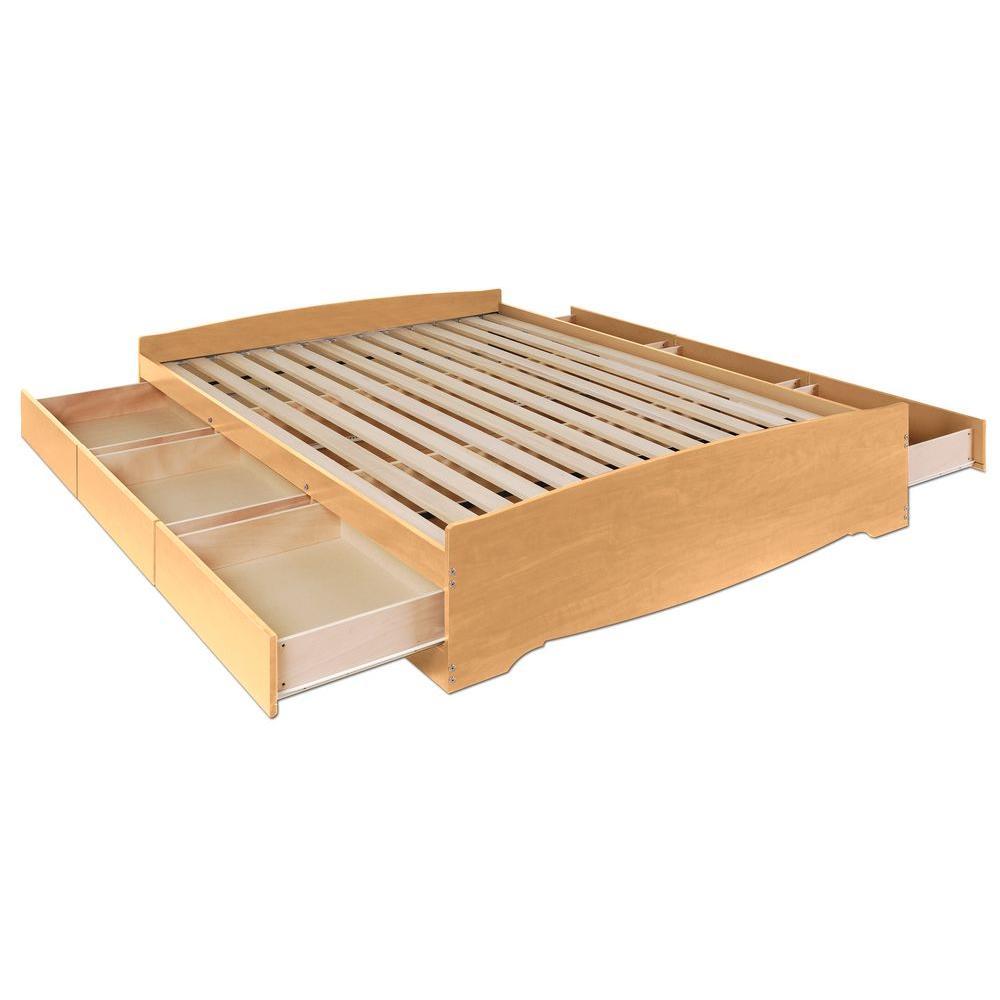 Prepac Sonoma Queen 6-Drawer Platform Storage Bed in Maple