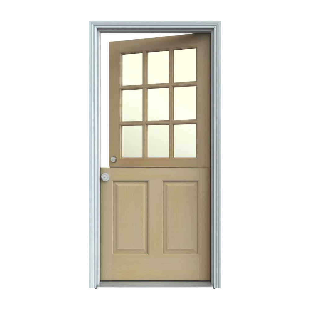 JELD-WEN 36 in. x 80 in. 9 Lite Unfinished Wood Prehung Right-Hand Inswing Dutch Front Door w/Primed AuraLast Jamb and Brickmold