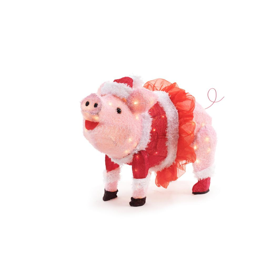 home accents holiday 32in 120l led fuzzy pink pig with tutu - Pig Christmas Decorations Outdoors