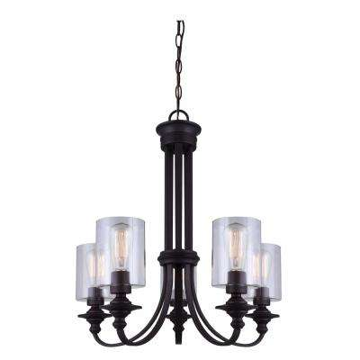 York 5-Light Oil Rubbed Bronze Chandelier with Clear Glass Shades