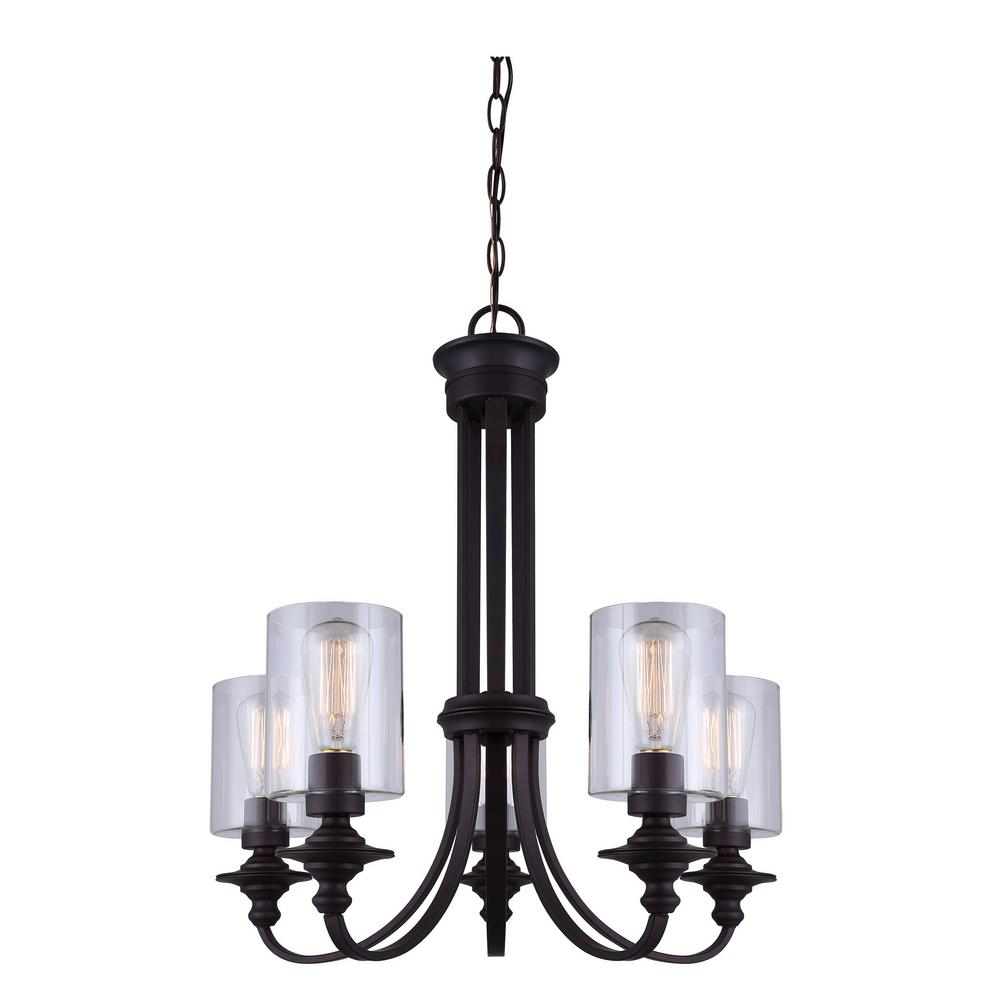 CANARM York 5-Light Oil Rubbed Bronze Chandelier With