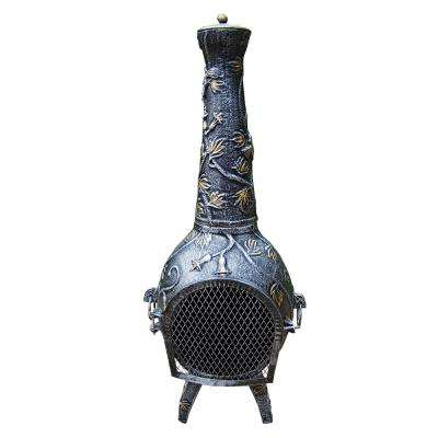 Leaf 45 in. Cast Iron Chimenea with Handles Log Grate Spark Guard Stack and Door