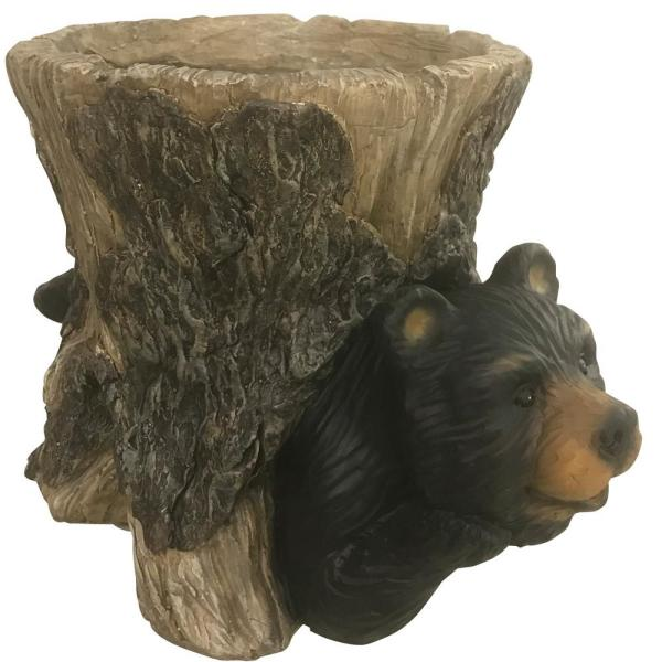13.5 in. W x 9 in. L x 9.2 in. W Magnesia Bear in Stump Indoor/Outdoor Planter