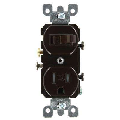 15 Amp Commercial Grade Combination Single Pole Toggle Switch and Tamper Resistant Outlet, Brown