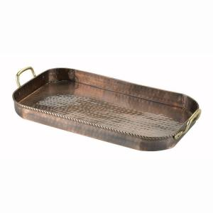 18 in. x 10.5 in. x 1.75 in. Oblong Antique Copper Tray with Cast Brass Handles